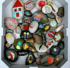 Story stones...cheap version of Story Cubes game I pinned earlier! -or - end of year gifts for each student/paperweight