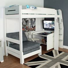 Purchase a Urban Grey High Sleeper 1 at Room To Grow. We offer price match availability on the Urban Grey High Sleeper 1 & free delivery available Bedroom Loft, Kids Bedroom, Bedroom Decor, Bedroom Ideas, Bedroom Small, Grey Single Bed, Single Beds, Bunk Bed With Desk, Loft Bunk Beds