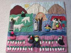 Peruvian Hand Embroidered Applique Arpillera Farm Scene