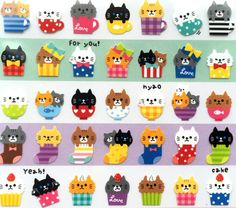 This is a very cute sheet of cat stickers! There are a lot of cute little cats in cups, bowls, socks, pots and more! .