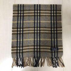 New 100/% Cashmere Scarf Soft 72X12 Off White Scotland Wool Men Check Plaid Wrap