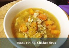 Clean eating chicken soup suitable for a cleanse or detox diet. Diabetic Chicken Recipes, Chicken Soup Recipes, Heart Healthy Recipes, Crockpot Recipes, Diabetic Soups, Healthy Meals For Two, Healthy Foods To Eat, Healthy Eating, Healthy Lunches
