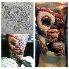 Gizmo (mogwai) cinematic Gremlins realistic tattoo design process from sketch to finish