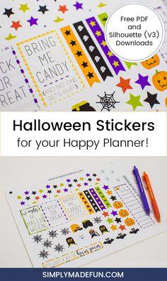 Halloween Stickers | Happy Planner | Free Printable | Halloween Printable | Holiday Crafts via @simplymadefun