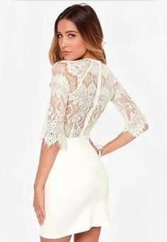 White Half Sleeve Lace Bodycon Dress - abaday.com