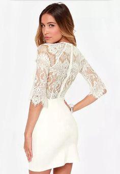 White Half Sleeve Lace Bodycon Dress - abaday.com