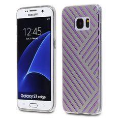 Samsung Galaxy S7 Edge - TPU PC Silver Monochrome Stripes Design on Purple Glitter Back Cover