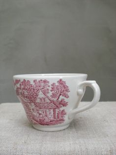 Tea Cup England Broadhurst ironstone red by vintagefullhouse, $17.00