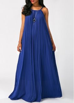 Pleated Halter Royal Blue Maxi Dress on sale only US$32.31 now, buy cheap Pleated Halter Royal Blue Maxi Dress at Rosewe.com
