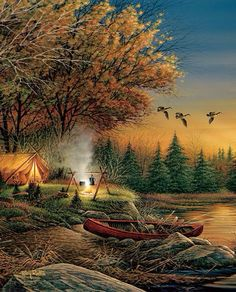 Beautiful camping out painting