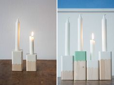 40 DIY Wood Projects We Love | Brit + Co. another loveable #diy presented on #Brit&Co. (Can use the candles in an advent wreath redesign)