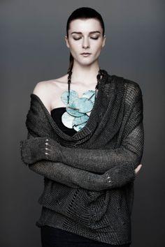 Cowl neck sweater (Thyme - $1295) Tube (OD Tarragon - $325) - UrbanZen