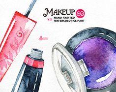 Makeup Watercolor v2. 60 Hand painted clipart, diy elements, fashion, invite, beauty, eyeshadow, lipstick, perfume, nail polish, blog