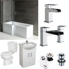 Complete Bathroom Suite L Shape Shower Bath + Vanity Unit 550 + Waterfall Taps ✔Shower Screen ✔Front Panel ✔10 Years Warranty. #ad