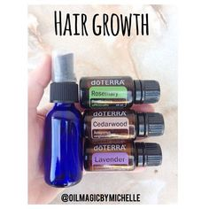 10 drops of each Rosemary, Cedarwood, and Lavender in a glass bottle and top with water. Shake and a spray on scalp 2x a day