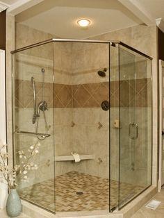 Corner Shower Design not fussed on the tile but I like the shower