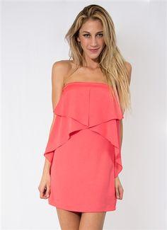 Hot Pink Mini Dress #Coral #HotPink #CoralDress #StraplessDress #Ruffles #Layers #MiniDress #Party #Event #ClubWear #Style #Fashion #Wholesale #LosAngeles #Downtown #StylishWholesale