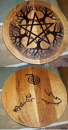 Pentacle Pyrography Trees by ~Lolair on deviantART