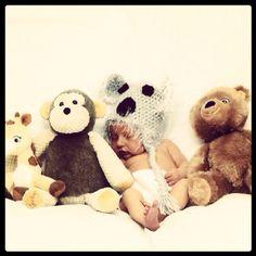 Emery's newborn pictures. Crochet koala hat. Stuffed animals. Sleepy baby. 4 days old