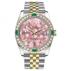 Pre-owned Rolex Datejust 2 Tone Glossy Pink Flower Dial Emerald... ($4,298) ❤ liked on Polyvore featuring jewelry, watches, emerald jewelry, 18k watches, i love jewelry, bezel watches and leather-strap watches