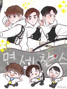 Is it just me, or does chibi Chen look like he has a pacifier? Exo Kokobop, Kpop Exo, Chanyeol, Chanbaek Fanart, Kpop Fanart, Bts Chibi, Anime Chibi, Exo Cartoon, Exo Anime