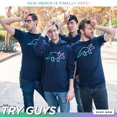 The official apparel and merchandise of The Try Guys. Try Guys, Smosh, Birthday Wishes, Youtubers, Tv Shows, Handsome, Graphic Sweatshirt, Celebs, Sweatshirts