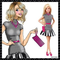 Another of my #FashionistasBarbie sketches (reposted from @Barbie 's Facebook). I was referencing the black and white striped swimsuit from the original #1 Barbie from 1959, but updated with another #blackandwhite print and pops of color in #Pantone 219 #pink! #BeSuper #BarbieOriginalArt #fashionistas #Barbie #flatforms #illustration #fashionillustration #work #werq #werqatwork #fashiondesign #printmixing #printonprint