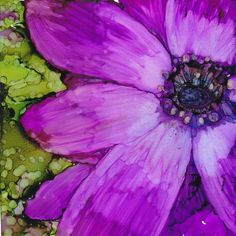 Anemone in alcohol ink original 5 1/2 x 6 by Kitty69 on Etsy