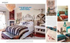 Country Sampler's Boho Style magazine features the Junk Gypsy Wander Inn Country Sampler, Boho Fashion, Fashion Trends, Boho Style, Wander, Gypsy, Magazine, Bedroom, Vintage