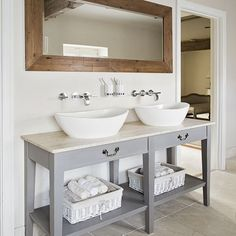 Neutral tiled bathroom with grey vanity unit | Bathroom decorating | Ideal Home | Housetohome.co.uk