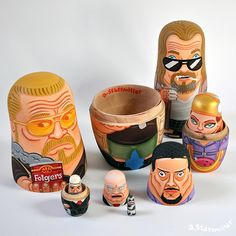 Awesome Hand Painted Nesting Dolls Inspired by the World of Pop Culture > Design und so, Fashion / Lifestyle > Andy Stattmiller, breaking bad, Mario Bros, Matrjoschka, Nesting Dolls, pop culture, Simpsons, star wars, the big lebowski