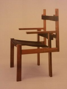Marcel Breuer: Wood Slat Chair, Second Version, 1923. Stained Maple With