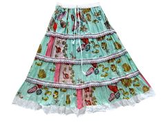 Casual Chic Boho Skirt for Womans Ethnic Printed Cotton Summer Skirts for Womens