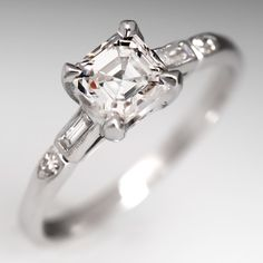 GIA Vintage Asscher Cut Diamond Engagement Ring Platinum .88 F/SI2