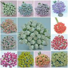 "50 PCS MULBERRY PAPER MINI ROSEBUD HIP FLOWER CRAFT 9 mm or 3/8"" MANY COLOR #Unbranded"