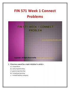 Get instant help for LDR 300 Final Exam 30 Question With Answers (University of Phoenix). We specialize in providing you 100% the correct answers for the course.  FIN 571 Week 1 Connect Problems