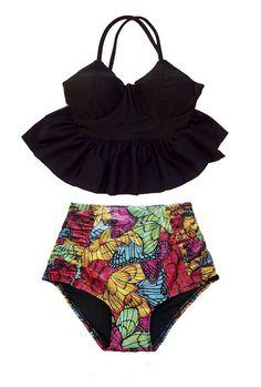 Black Long Bra Top and Butterfly High waisted waist Pinup Pin up Bottom Bikini Bikinis set Swimsuit Swimwear Bathing suit Swimdress wear S M