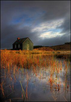 Hut @ Dawn   by angus clyne. Scotland
