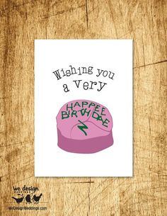 "Printable - Harry Potter ""Wishing You a Very Happee Birthdae"" Birthday Card. DIY Digital Download featuring Hagrid's Birthday Cake"