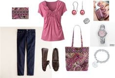 """Comfy with Mauve Tshirt and Very Berry Paisley VB"" by zbunny on Polyvore"