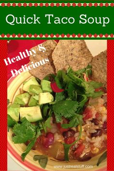 I love this quick and easy taco soup. It's flexible so you can easily make it for omnivores, vegans, or vegetarians!