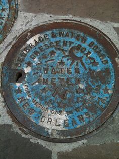 #NOLA #NewOrleans     NOLA water meter cover! These are scattered around the city, though many were stolen during Katrina...you can still find plenty of them in the Garden Dist.
