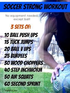 Soccer Strong Workout -- do this body weight WOD and get fit for the season. No equipment exercises, all you need is your ball Strong Workout -- do this body weight WOD and get fit for the season. No equipment exercises, all you need is your ball. Basketball Workouts, Soccer Drills, Soccer Coaching, Soccer Tips, Soccer Stuff, Workouts For Soccer Players, Soccer Training Drills, Basketball Games, Soccer Cleats