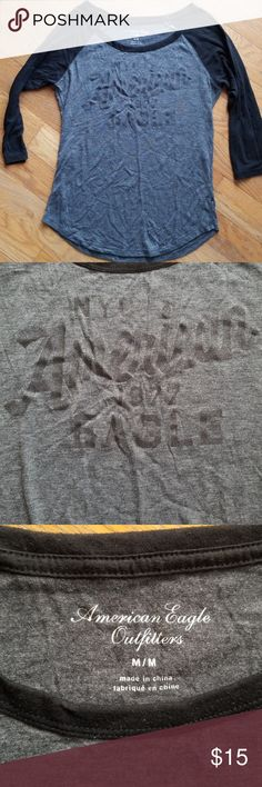 💕FAVORITE ITEM💕 AEO Baseball Tee One of my absolute all time FAVORITE tops!!! So sad to post it, but... Black and gray American Eagle baseball tee with glitter writing on front. In PERFECT condition, always worn with love!! Size medium. American Eagle Outfitters Tops Tees - Long Sleeve