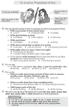 Grade 10 Grammar Lesson 39 At in and on: Prepositions of time My English Teacher, Teaching English Grammar, English Grammar Worksheets, Grammar Book, Grammar Lessons, English Language Learning, Writing Lessons, Teaching Spanish, Spanish Language
