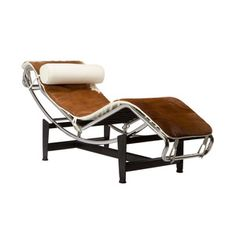 Chaise Lounge Chair in Brown Hide