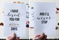 I Have Loved You For This Many Days - Free, romantic Valentine's Day or Anniversary card printable. So sweet! day cards romantic I Have Loved You For This Many Days - Free Valentine or Anniversary Card Printable Diy Wedding Presents, Wedding Day Cards, Wedding Day Quotes, Wedding Gifts For Parents, Wedding Day Gifts, Wedding Ideas, Quotes Valentines Day, Birthday Quotes, Birthday Cards