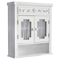Elegant Home Fashions Lisbon Collection Shelved Wall Cabinet With  Glass Paneled Doors, White | Collection Wall Cabinet | Pinterest