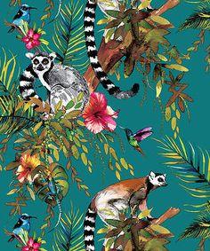 Lemur by Albany - Navy - Wallpaper : Wallpaper Direct - Albany Lemur Navy Wallpaper via Wallpaper Direct. Tier Wallpaper, Navy Wallpaper, Feature Wallpaper, Tropical Wallpaper, Forest Wallpaper, Metallic Wallpaper, Blue Wallpapers, Animal Wallpaper, Bedroom Wallpaper