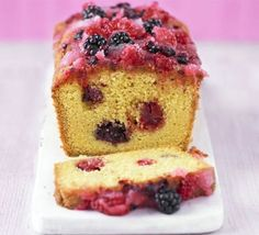 Summer fruit drizzle cake